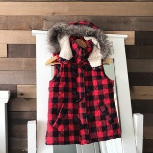 Mossimo Buffalo Plaid Hooded Sleeveless Vest Fur
